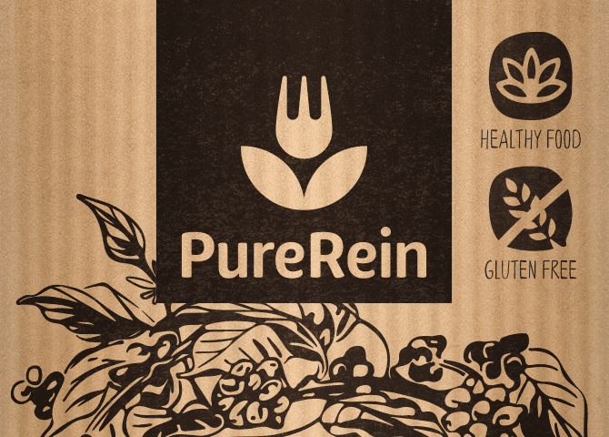 healthy food brand logo design in use on packaging